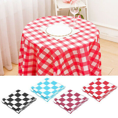 AM_ Grid Disposable Plastic Rectangular Table Cover Tablecloth Party Supply Eyef