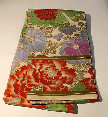 Japanese Vintage Silk Fukuro Obi Belt - Flower and Butterfly