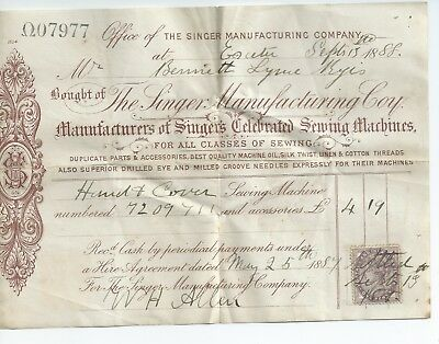 Singer sewing machine letterhead document Dated 1888