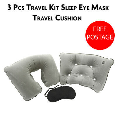 Inflatable Travel Neck Pillow U Shaped Memory Rest Flight Head Support
