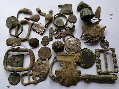 Uncleaned Metal detecting finds. Roman, Medieval, Tudor Artefacts, Coins