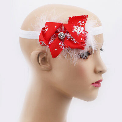 Christmas Baby Girls Bow Headband Toddler Infant Hair Band Hair Accessories LH