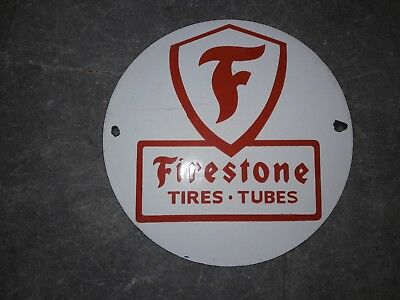 """Porcelain Sign Firestone Tires & Tubes 10"""" Inches Round"""