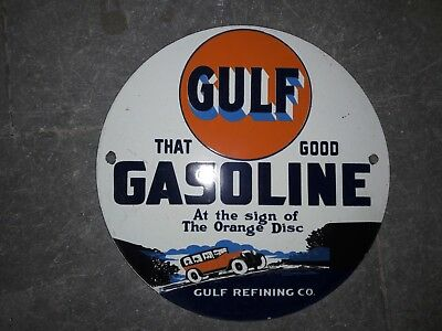 """Porcelain Sign Gulf Gasoline Enamel Sign Size 10"""" Inches Round"""