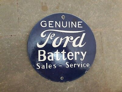 """Porcelain Sign Ford Battery Enamel Sign Size 10"""" Inches Round"""
