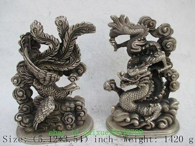 Chinese antique old copper plating silver pair of auspicious longfeng statue f02