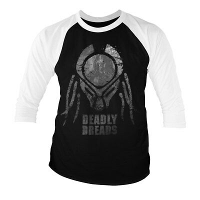 Officially Licensed Predator Deadly Dreads Iconic 3/4 Sleeve Baseball Tee S-XXL