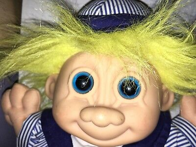 """A Rare 12"""" Russ Soft Body Blue Eyed Boy Troll Vintage Collectible Toy"""