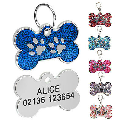 Personalised Dog Tags Engraved Cat Puppy Pet ID Name Collar Tag Bone Glitter HA