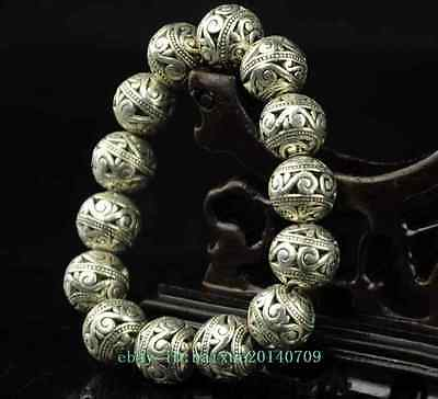 chinese old  copper plating silver Hollow Round Beads lucky bracelet a01