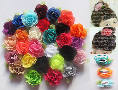 5cm Girls Chiffon Flower Hair Clips Grips Slides Ponytail Hair Bobbles Pins