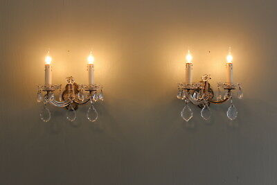 Pair antique chic French brass, glass, crystal prisms sconces vintage rewired