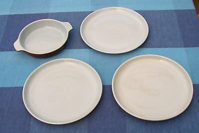 Denby Homestead three blue salad plates and one entree dish