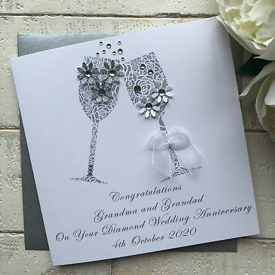 Handmade Personalised 60th Diamond Wedding Anniversary Card Mum Dad Grandad Nan