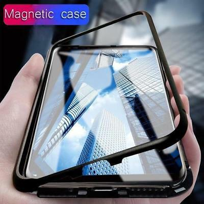 Magnetic Absorption Metal Bumper Glass Case Cover iPhone, Samsung S7 S8 S9 Plus