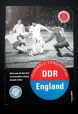EAST GERMANY V ENGLAND INTERNATIONAL, LEIPZIG 29th MAY 1974 - FOOTBALL PROGRAMME