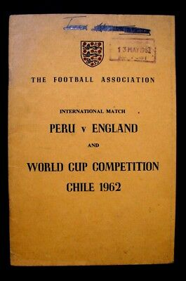 Peru V England International, + World Cup 1962 Itinary - Rare Football Programme
