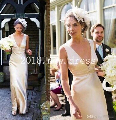 Sexy Vintage 1950s Deep V Neck Wedding Dress Formal Long Satin Bridal Gown