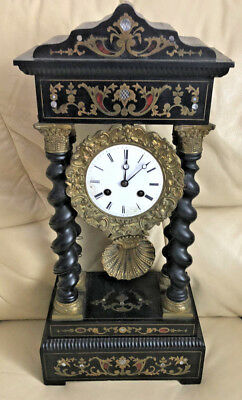 Antique French Gilt Boulle Portico Clock c.1870 Empire JAPY FRERES MEDALION