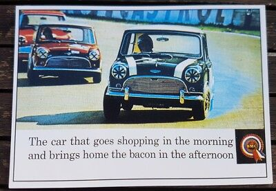 BMC Mini Cooper S Mk 1 1964 Brands Hatch Vintage Ad Gallery Postcard VM74PC Mint