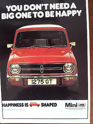 Mini 1275 GT 1975 Vintage Ad Gallery You Don't Need a Big One to be Happy Card