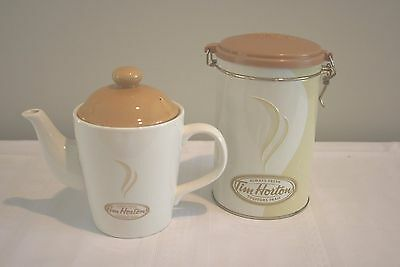 Coffee Tea Pot Tim Hortons Vintage 2006 Ceramic & Coffee Tin Collectables