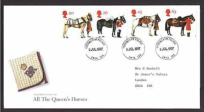 QUEEN'S HORSES GPO FDC with Buckingham Palace CDS. Cat £125.