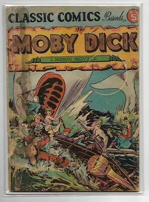 Classics Illustrated #5 Moby Dick HRN 21 Golden Age Fair Condition Sewn Spine