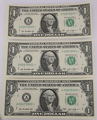 Series of 2013 UNC One Dollar $1 Green Seal Currency Star Note Bill Lot of Three