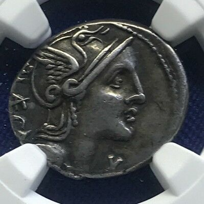 Roman Republic P. Porcius Laeca 110/09 BC AR Denarius, NGC VF Ancients