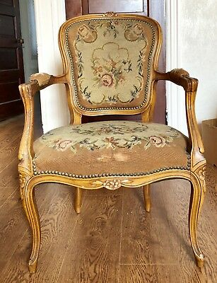 Antique Louis Xiv French Wood And Petit Point Tapestry  Chair