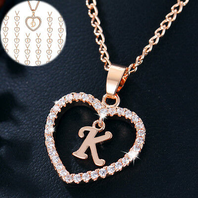 18K Gold Filled Heart Letter ABC Inlaid Crystal Pendant Necklace Women Jewelry