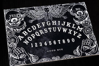 Wooden Black Ouija Board game & Planchette with detailed Instruction