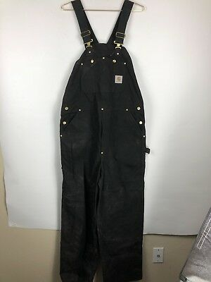 Vintage Carhartt Overalls Black Bib Sz 40 x 32 Made in USA R01 Work Wear Mens