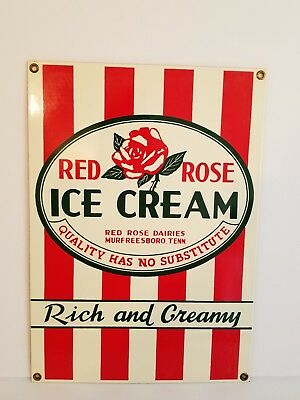 Vintage Red Rose Ice Cream  Porcelin Sign Murfreesboro Tenn