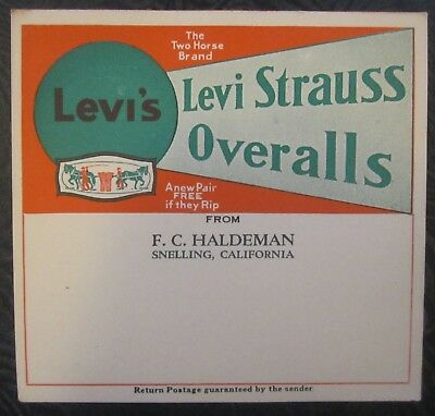Vintage Levi Strauss Shipping Label 1930's-1940's