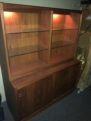 Vintage Teak Danish Mid Century Modern Glass Door Hutch Credenza Made in Denmark