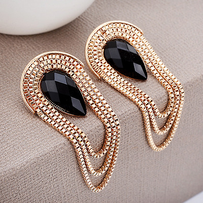 Gold Metal Chain Tassel Drop Ear Stud Earrings Women Luxury Elegant Jewelry Gift