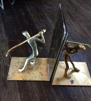 Vintage Brass Golf Sculptural Bookends Made In Korea