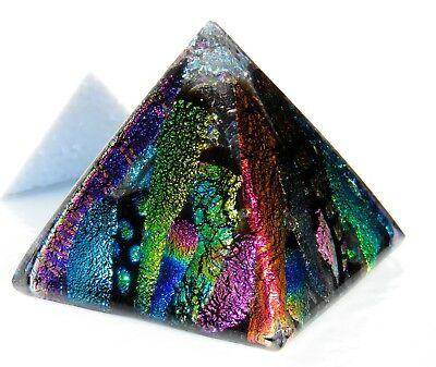 Dichroic Fused Art Glass LaYeReD PYRAMID Paperweight Signed Free Gift Bag