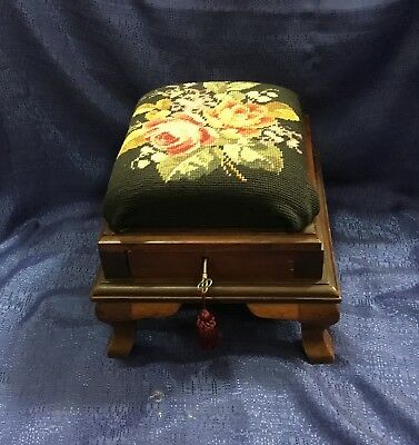 Rare and Unusual Footstool Victorian Walnut Floral Cushion, With Key, Drawer