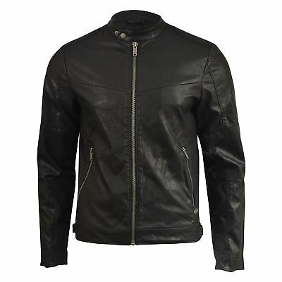 Mens Jacket Firetrap Faux Leather Bullard Bikers Coat