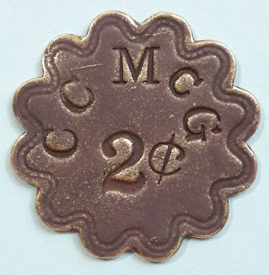 C C McG ~ 2 cent TRADE TOKEN ~ vintage exonumia from Kentucky