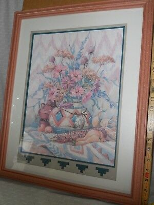 HOME INTERIORS Print Picture Artist Barbara Mock Clay Floral Aztec SouthWest