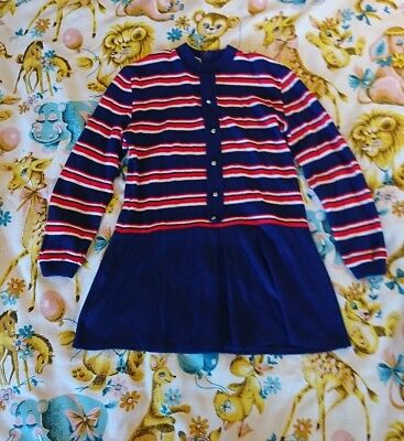 Vintage Dralon girls dress approx age 9/10/11/12 red blue nautical