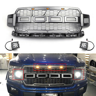 Gray 2018 F150 Raptor Style Front Grille Upper Grill For Ford F-150 W/Side LED B