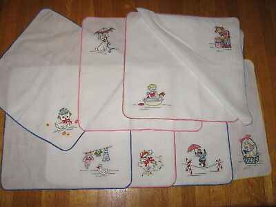 """Vintage Lot 8 Childs Hankies Embroidered corners Colored edge stitching 7.25"""" sq"""