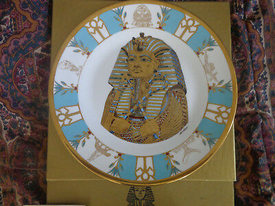 Boehm Porcelain King Tut Commemorative Plate Chicago Feild Museum 1970's W/box