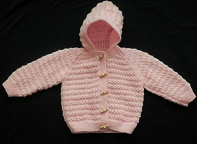 Hand Knitted Baby Cardigan in Pink with Hood. 12-18 Months.