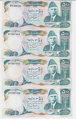PAKISTAN , Government of Pakistan,Pick #42,1986, 500 RUPEES ,4 PCS  SEE IMAGES